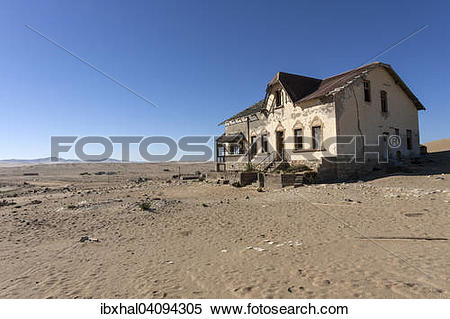Stock Image of Old house in the former diamond town, now a ghost.