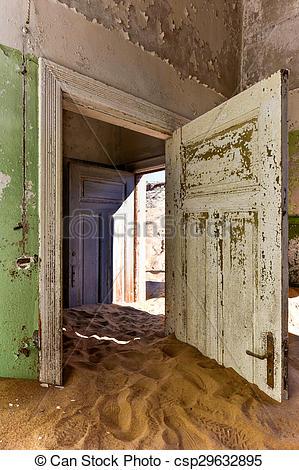 Stock Photographs of Ghost town Kolmanskop, Namibia.