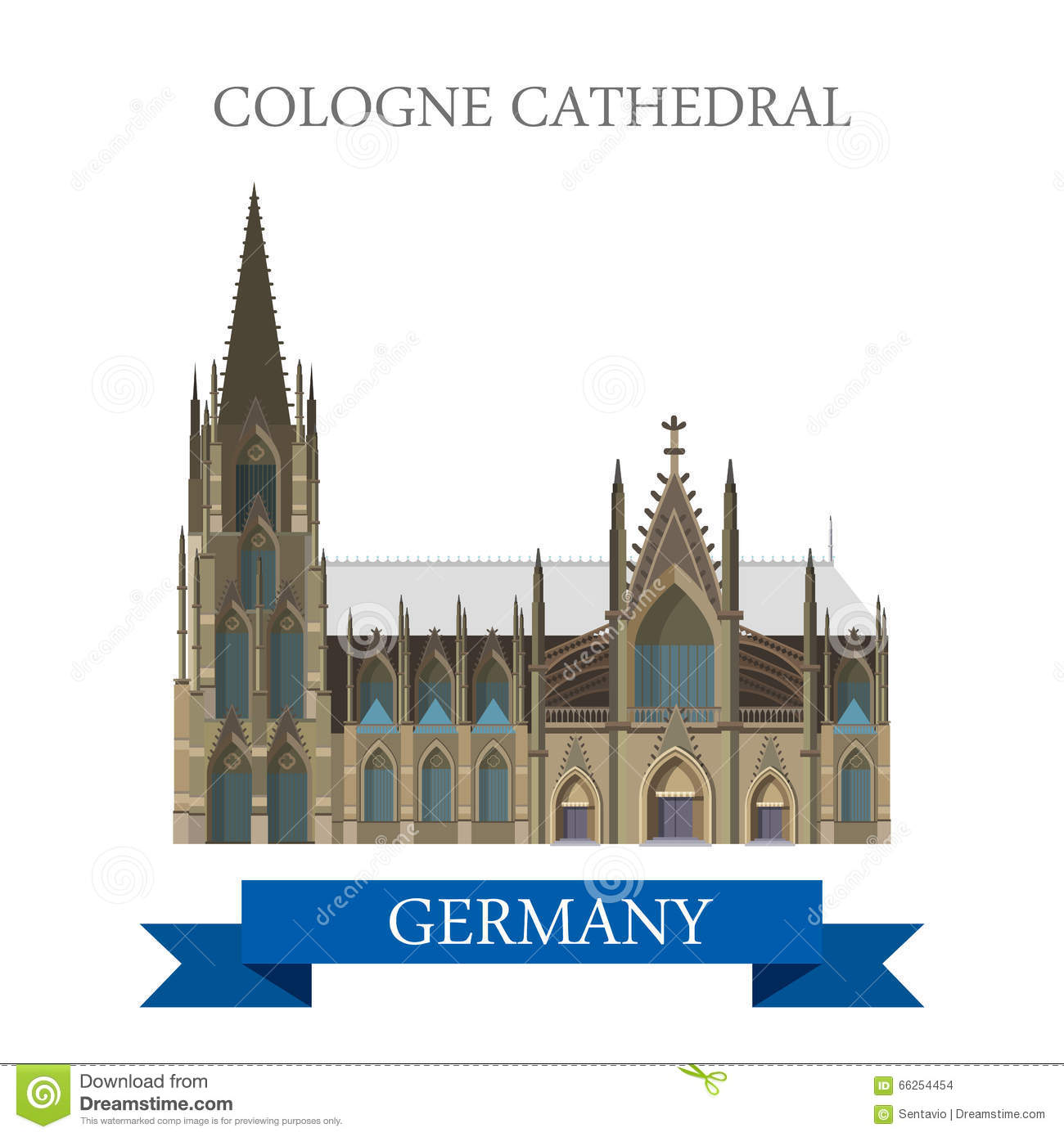 Cologne Cathedral Kolner Dom Rhine Westphalia Germany Vector Stock.
