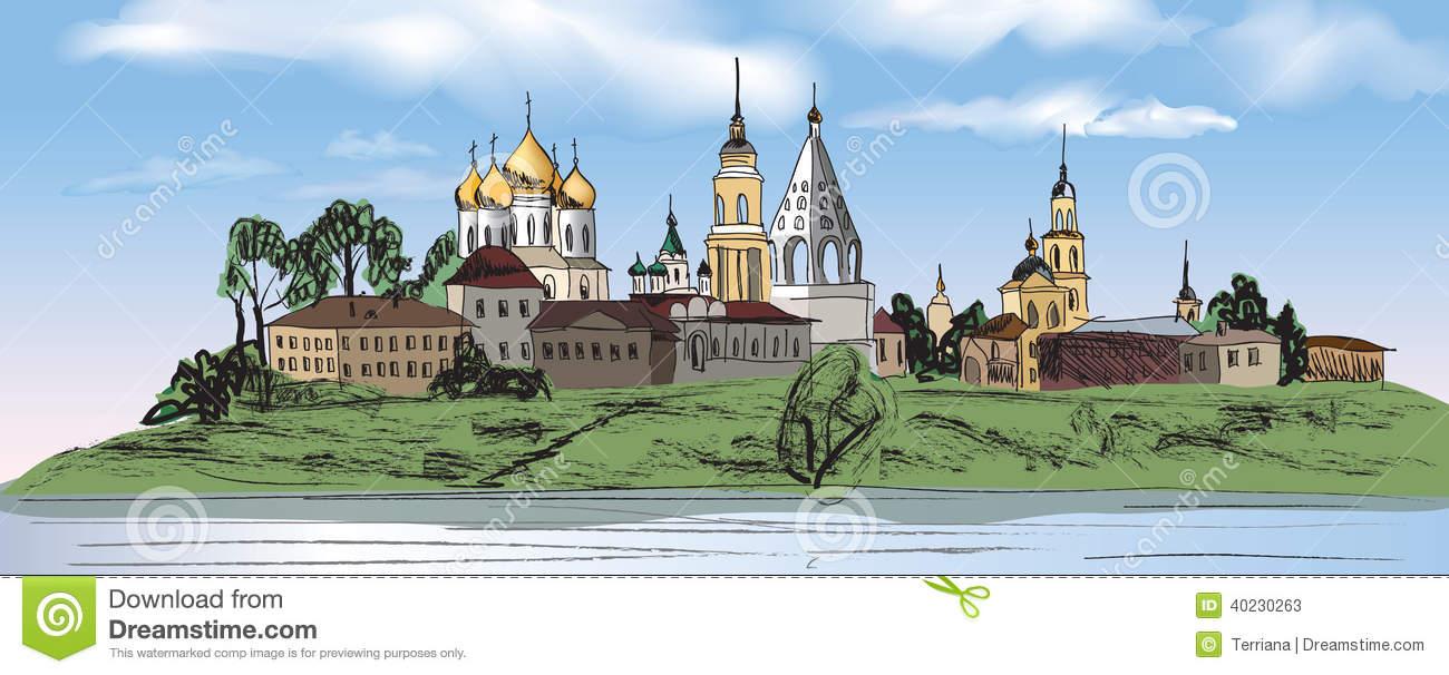 Ancient Russian City Kolomna Stock Vector.