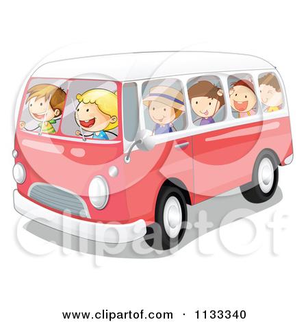 Cartoon Of Children In A Kombi Van.