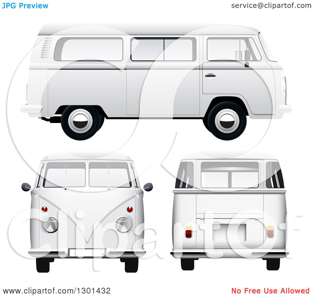 Clipart of 3d White VW Kombi Vans at Different Views on White.