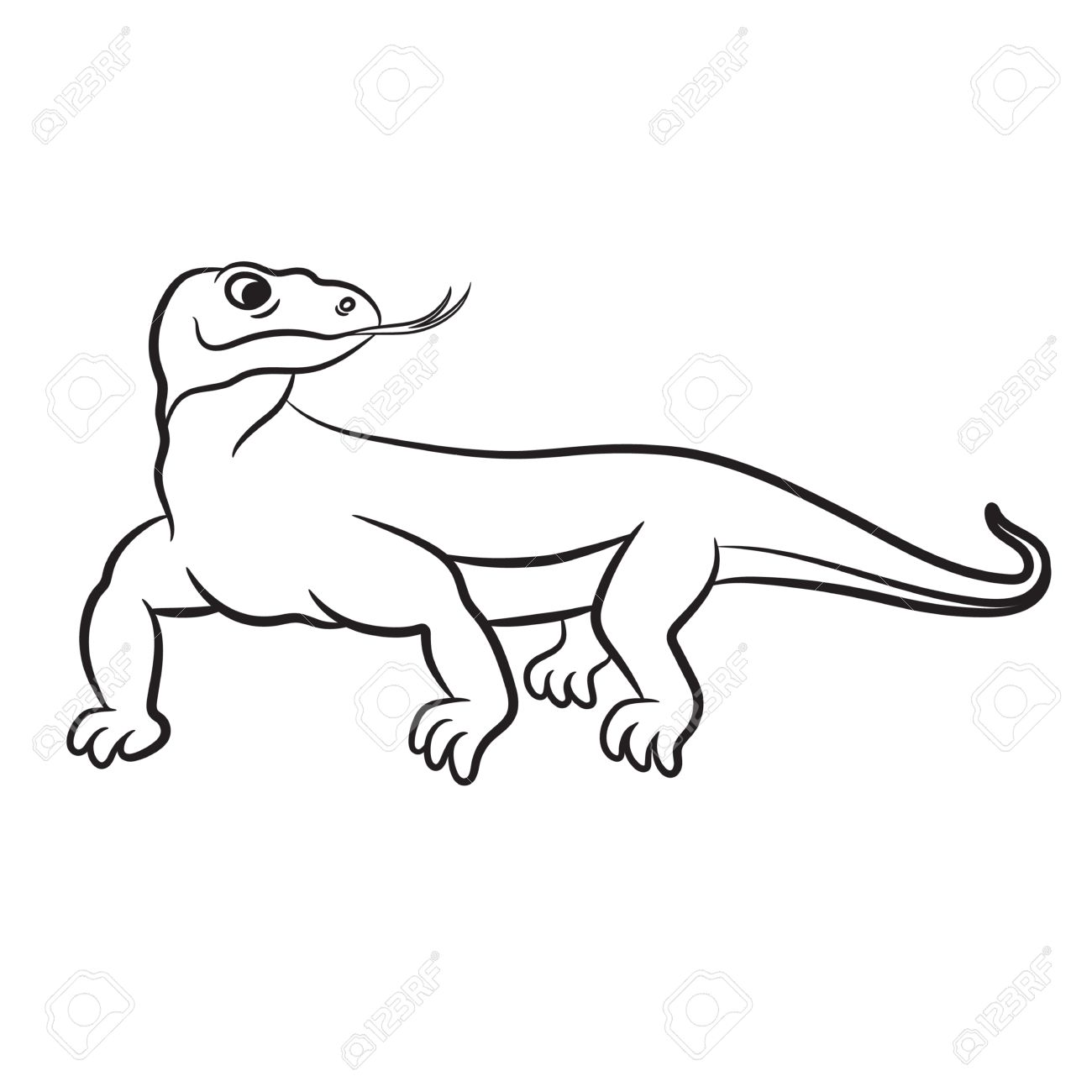 Outlined Varan (komodo Dragon) Vector Illustration. Isolated.