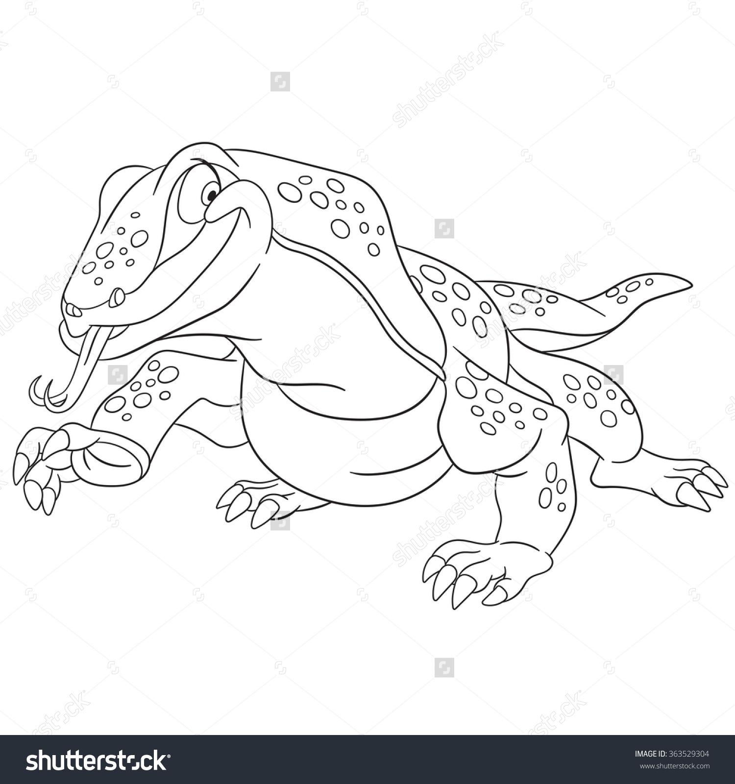 Cute Happy Cartoon Varan Komodo Dragon Stock Vector 363529304.