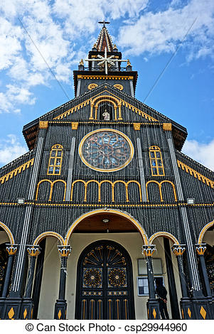 Stock Image of Kontum wooden church, ancient cathedral, heritage.