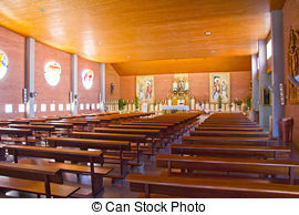 Stock Photo of Inside Wooden church.