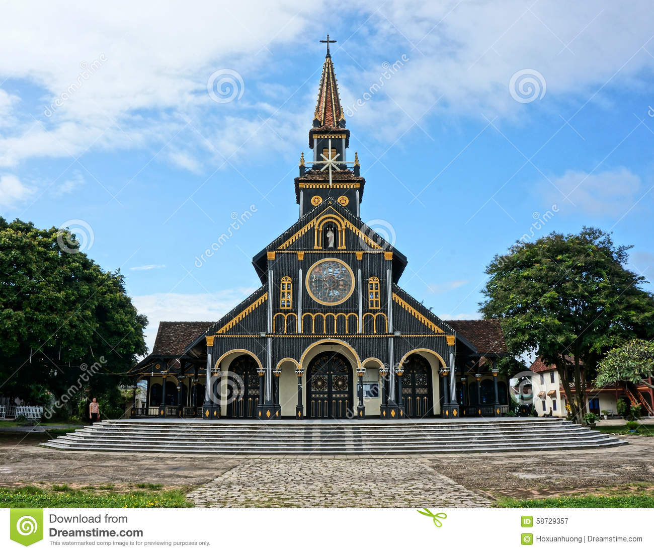 Kontum Wooden Church, Ancient Cathedral, Heritage Editorial.