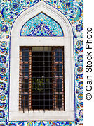 Stock Photography of Blue Tile on Konak Yali Mosque, Izmir, Turkey.