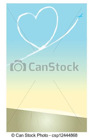 Clip Art Vektor von Kondensstreifen, heart.