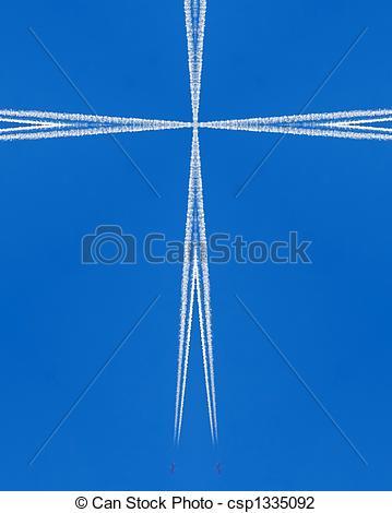 Clip Art von Kondensstreifen, cross:, Düse, Kaleidoskop.