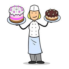 Konditor mit Torte und Kuchen.
