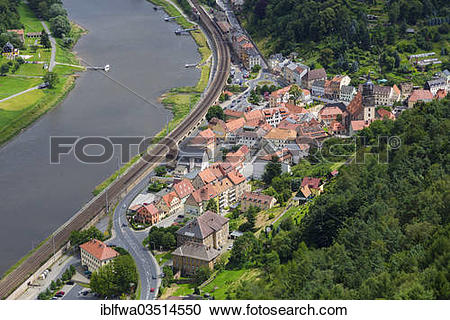 """Stock Photography of """"View from Koenigstein Fortress over the town."""
