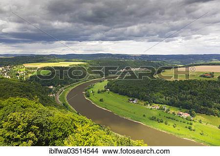 "Stock Photo of ""View from Koenigstein Fortress, Konigstein, Saxon."