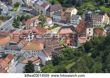"""Stock Photograph of """"View from Koenigstein Fortress over the town."""