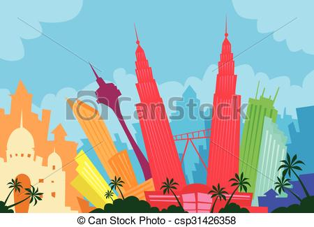 Clipart Vector of Kuala Lumpur Malaysia Abstract Skyline City.