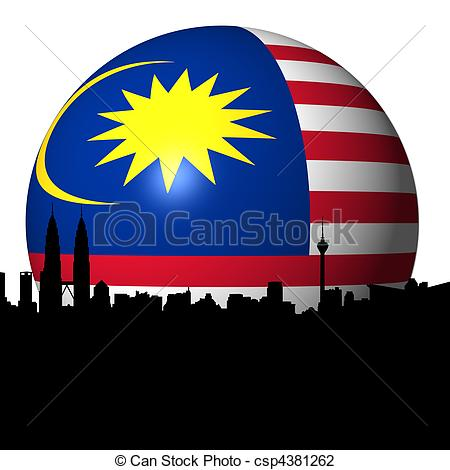 Clip Art of Kuala Lumpur Malaysian flag sphere.