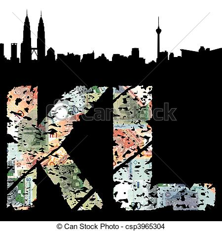 Drawing of Kuala Lumpur grunge text with skyline csp3965304.