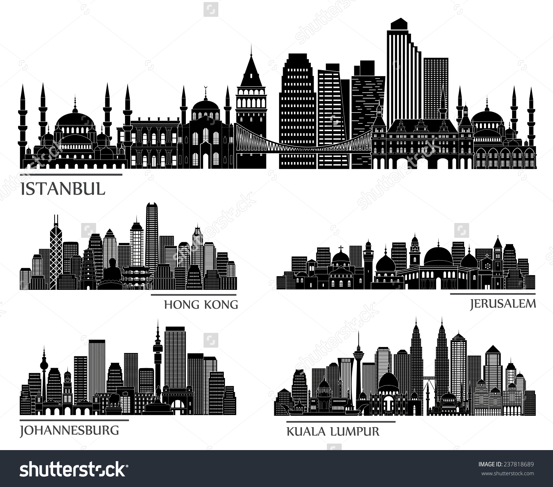 Skyline Detailed Silhouette Set Istanbul Hong Stock Vector.