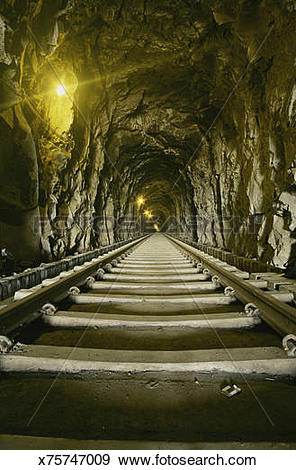 Stock Photograph of Endless tunnel of Konkan Railway, India.