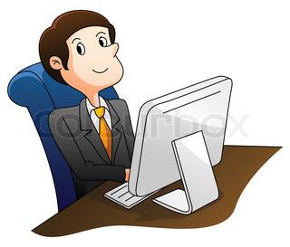 Clipart, computer, arbejdende.