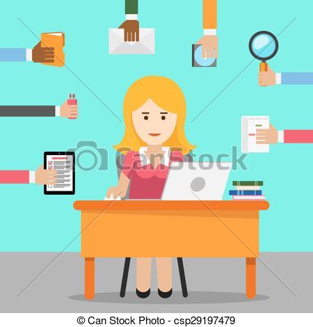 Vektorer Illustration av arbete, upptaget, kvinna, kontor.