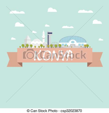 Vectors Illustration of Konya city vector csp32023870.
