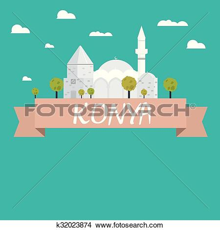 Clipart of Konya city vector k32023874.