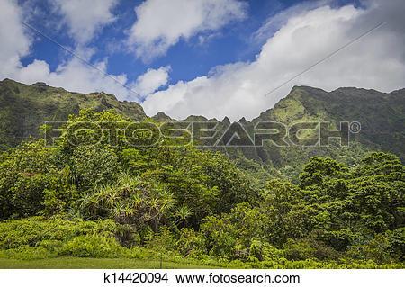 Stock Photo of Ko'olau Mountains Oahu Hawaii k14420094.