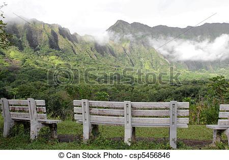 Stock Image of Koolau Mountains peaceful scene.