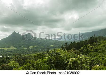 Stock Photographs of Olomana and Koolau Mountains.