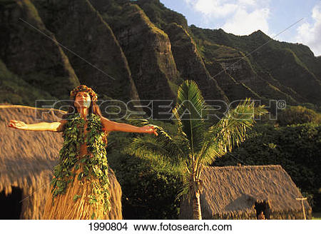 Stock Photo of Hawaii, Oahu, Woman Dancing Hula With Ko'olau.