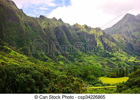 Stock Image of Ko'olau Mountain Range, Hawaii.