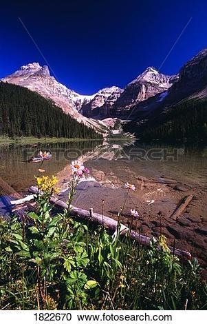 Stock Photography of Kaufmann Lake, Kootenay National Park.