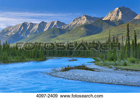 Stock Photograph of River passing through a forest, Kootenay River.