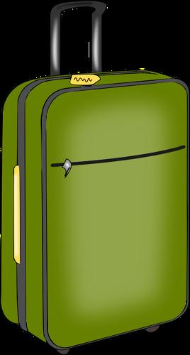 Green luggage.