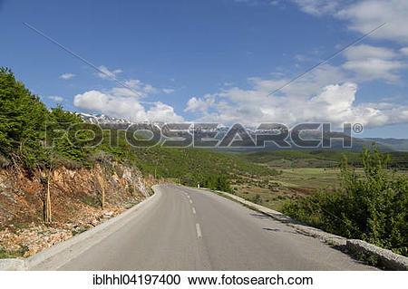 Stock Photography of Mali i Thate mountain panorama at lake Prespa.