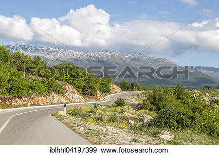 Stock Photograph of Mali i Thate mountain panorama on lake Prespa.
