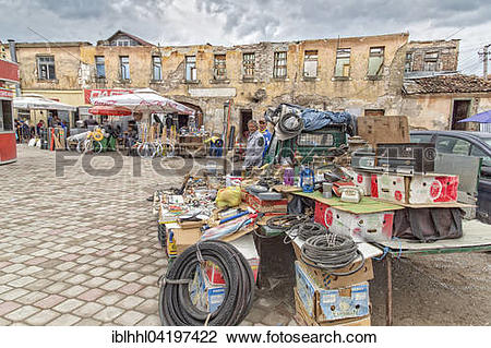 Stock Photo of Market stall at the old caravanserai, Korce, Korce.