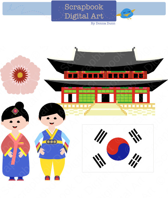 South Korea Clip Art, Hanbok Clip Art, Korean Traditional Dress.