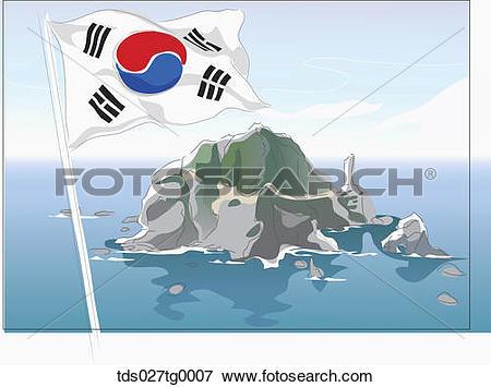 Stock Illustration of Drawing of a Korea island, Dokdo and Korean.