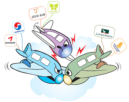 Korean Air, Asiana losing shares to foreign, budget carriers.