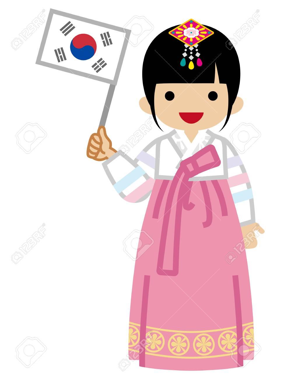 Korean Toddler Girl holding a National flag,Wearing Traditional...