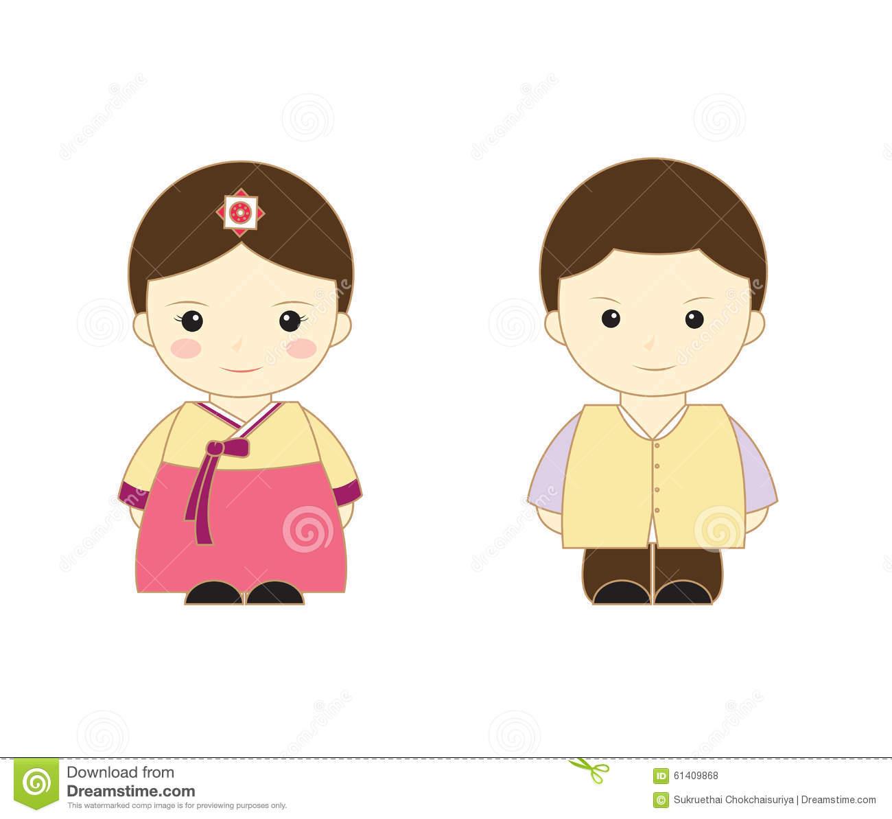 Korea cute kids stock illustration. Illustration of korea.