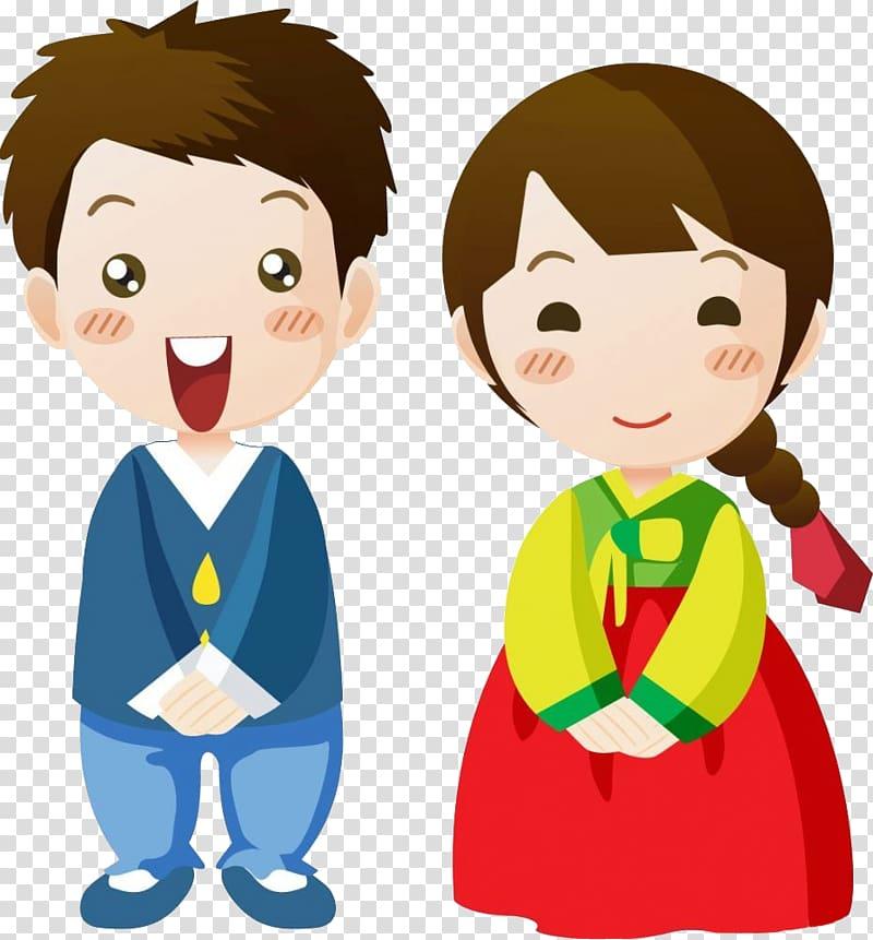 Boy and girl character illustration, South Korea Cartoon Korean.