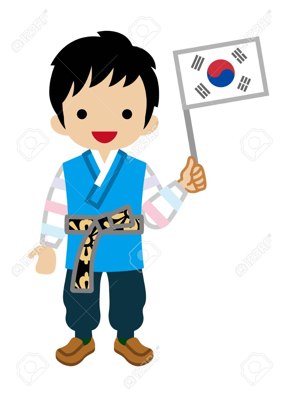Korean Toddler Boy holding a National flag,Wearing Traditional...