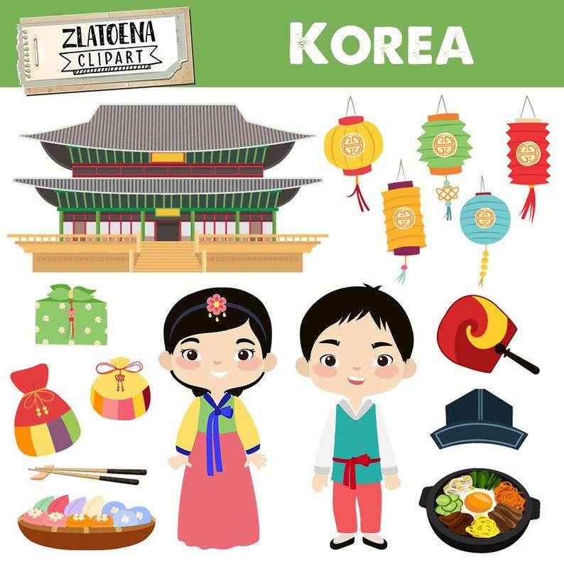 Korea clipart Korean digital clip art Korean Family Clipart Culture Clipart  Country Clipart Hanbok Chuseok graphics Travel East Asia clipart.