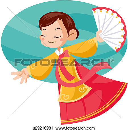 Clipart of public performance, buddhist dance, korean costume.