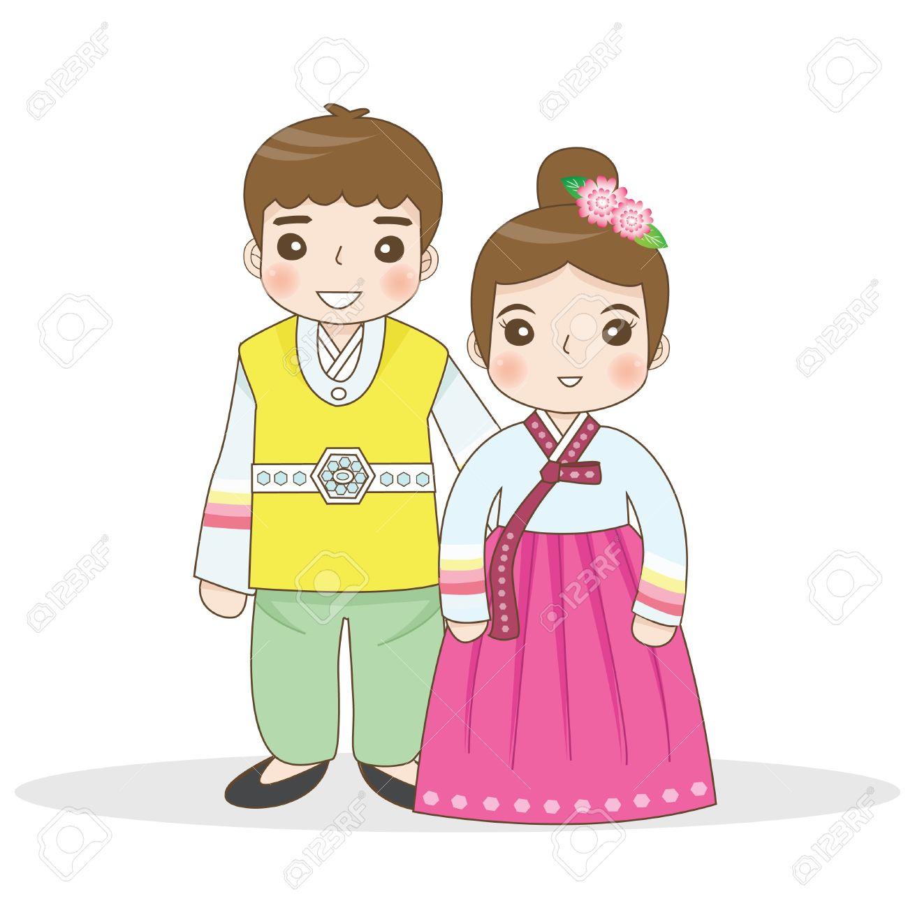 Korean Cute Couple Clipart.