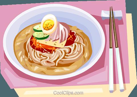 Korean Food Cold noodle Royalty Free Vector Clip Art illustration.