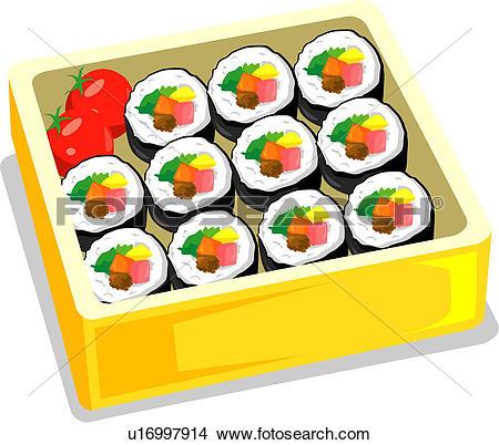 Clipart of gimbab, lunch, dessert, snack, cuisine, korean sushi.
